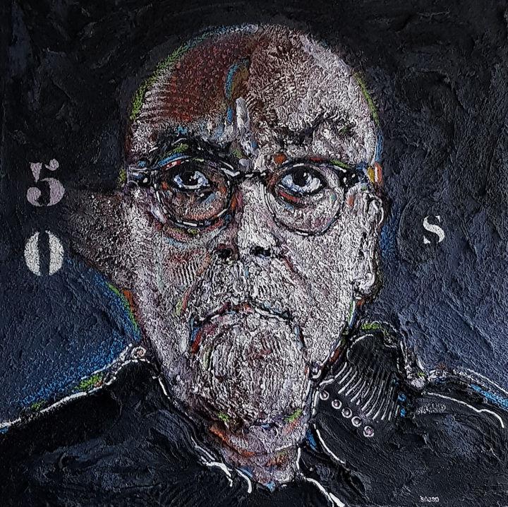 Autoportrait acrylique sur panneau Wedi